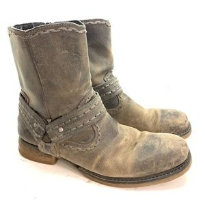 BED STU Leather Rustic Brown Black Boots Ankle 12
